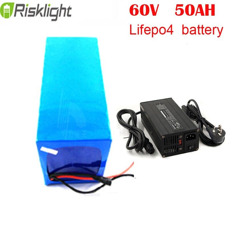 60 v 50ah ricaricabile Lifepo4 batteria 60 volt batteria al litio per e-scooter/sistema solare/e bici con 5A caricatore