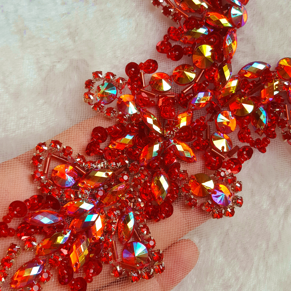 Sequin Red AB Color Sew On Neckline Rhinestone Crystal Trim Applique Design Sewing for Wedding Dresses DIY Decoration 20x34cm in Patches from Home Garden