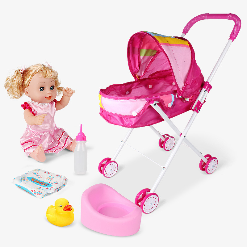 Punctual Baby Doll Umbrella Stroller Set For Little Girl Kid Toy Pink Pretend Play Gift Baby Dolls
