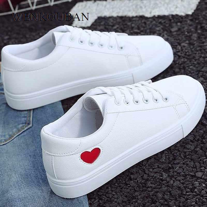 Zomer Vrouwen Sneakers wit Pu Lederen Gevulkaniseerd Schoenen Casual Dames Sneakers Lace-Up Flats Fashion Sneakers Tenis Feminino