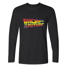 Back To The Future Long Sleeve Men Shirt Fashion Black Tee Shirt Men Cotton Funny Film Casual Tshirt Men Brand High Quality 4XL