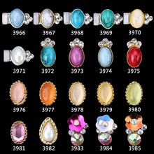 100PCS oval shape metal Nail Art Gems Charms Strass Nail Art Decorations 3D Diy Rhinestones Crystal Studs For Nails##3966-3985