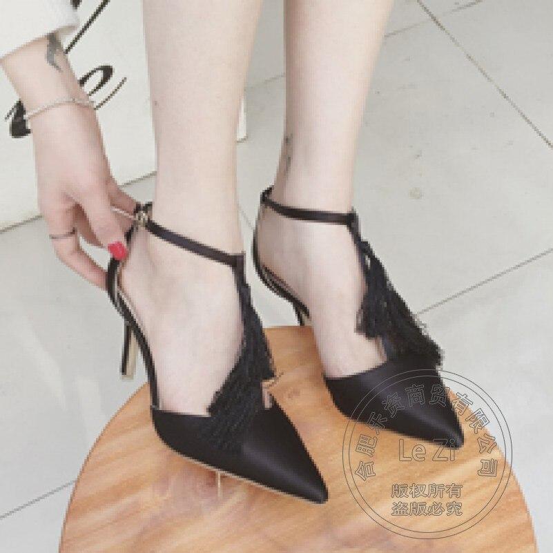 Pointy Pu Style Shoes Leisure Stiletto Shoes Models Stiletto Heels Teenage Girls Plain Pu T Strap