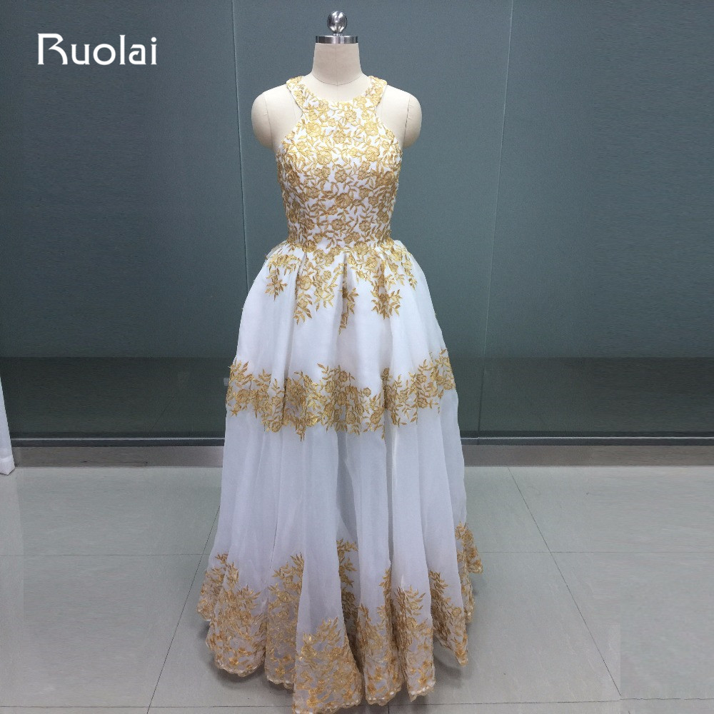 2019 Dubai Gold Evening Dresses Halter Off the Shoulder Ball Gown Pom Dress Golden Appliques Sheer Bottom Robe de Soiree FE71