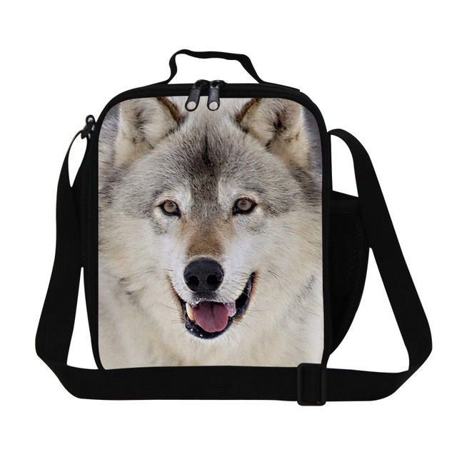 Stylish lunch bags for adults,wolf  pattern insulated lunch bags for children school,animal thermal lunch container for work