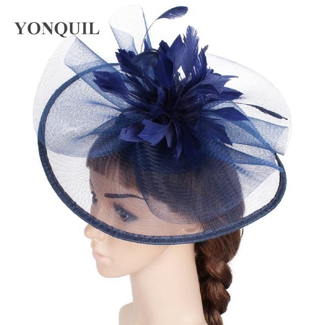 More colors Feather Flower Fascinator Big hats on hair clip Headband  Wedding Bridal Women Tea Party f37cfa8fc28