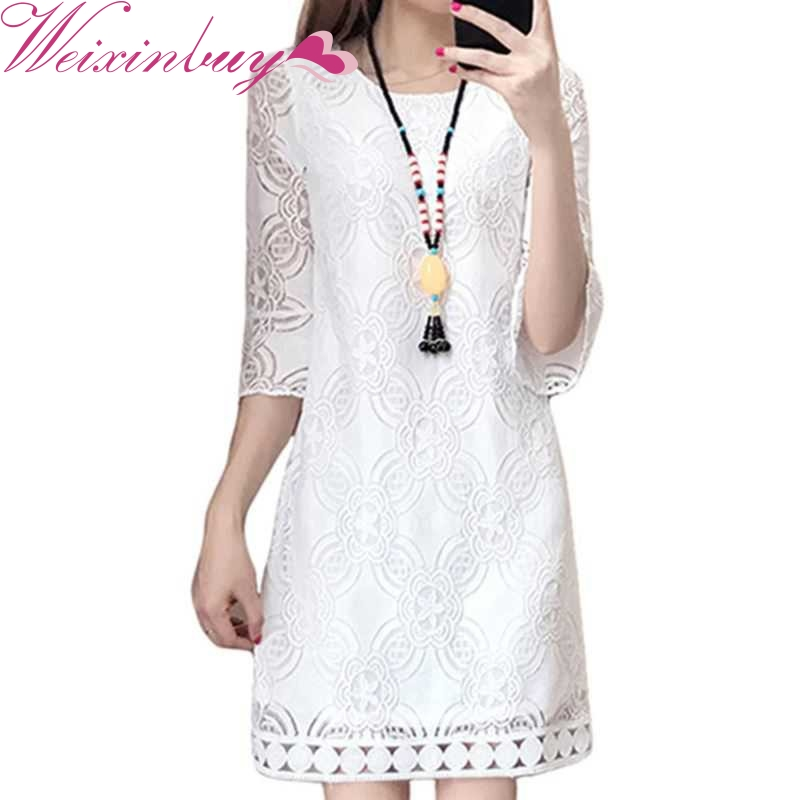 WEIXINBUY New Plus Lace 3Xl Dresses Elegant Slim O-neck XXL Vestidos Size Dress Quarter 4Xl Korea Style Casual Three image