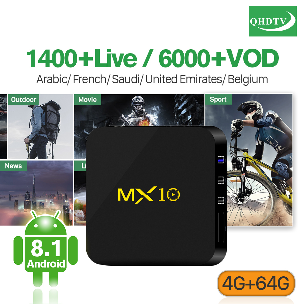 цена IPTV Belgium France Arabic QHDTV Code Subscription MX10 4G 64G RK3328 Smart Android TV Box Qsuad-Core Tunisia Algeria QHDTV