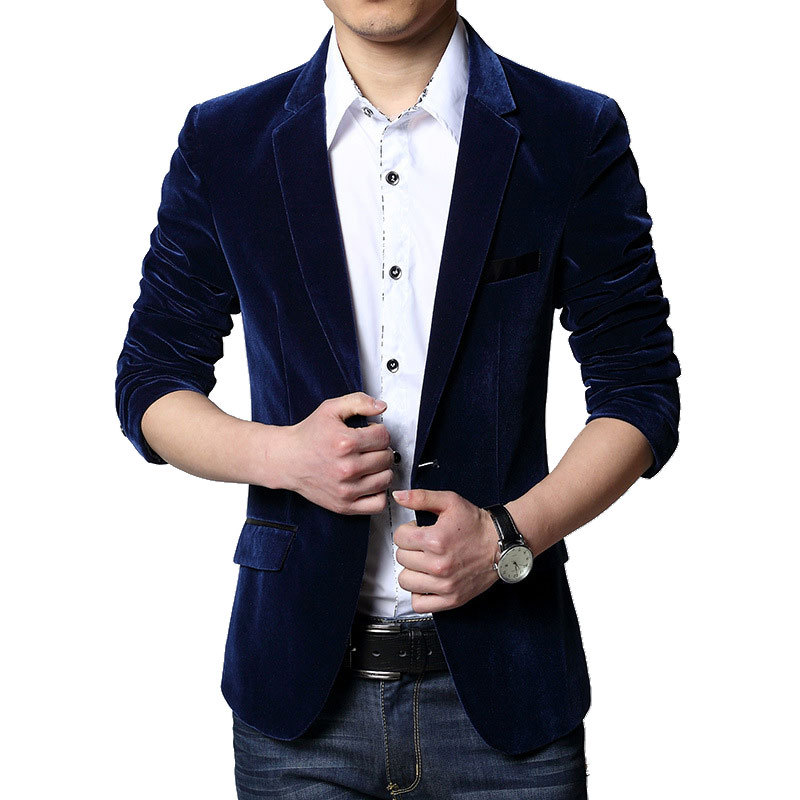 2017 Neue Ankunft Königsblau Vevet Blazer Männer Herbst Mens Fashion Schlank Single Button Blazer Jacke Männer Marke Blazer Masculino Produkte Werden Ohne EinschräNkungen Verkauft