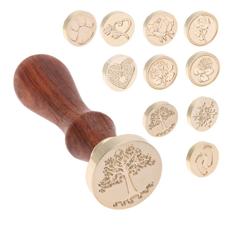 Vintage Copper Head Wooden Handle Wax Ancient Wax Seal Wood Stamp Dong Stamp DIY Envelope Card Wedding Decoration Invitation