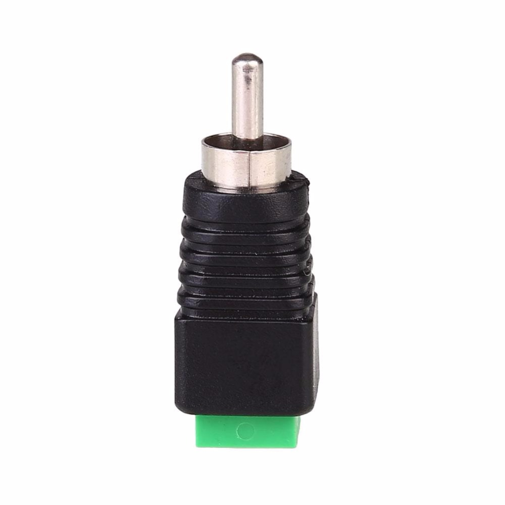 Audio/Video To AV RCA Male Screw Terminal Green Monitoring Camera Joint Connector Adapter JR-59-1 ABS Black repairing abs water pipe connector adapter grass green