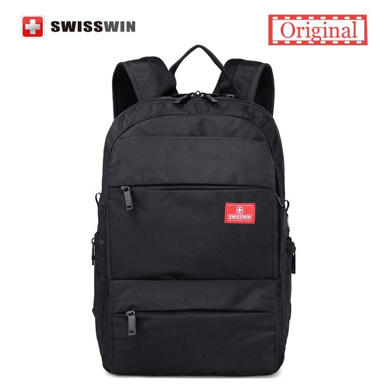 swiss gear brand multi pocket 15 laptop backpack male swisswin waterproof mens business travel backpack female black bagpack