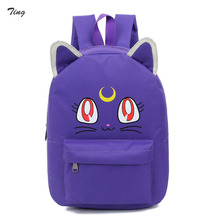Korean female harajuku cat ears Anime backpack 2016 faculty luggage for youngsters women sale youth Cute luna sailor moon backpacks