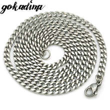Gokadima (40cm-60cm), 3mm wide,Cuban Curb Chain Stainless Steel Chain necklace for men or women accessories, wholesale, WN001(China)