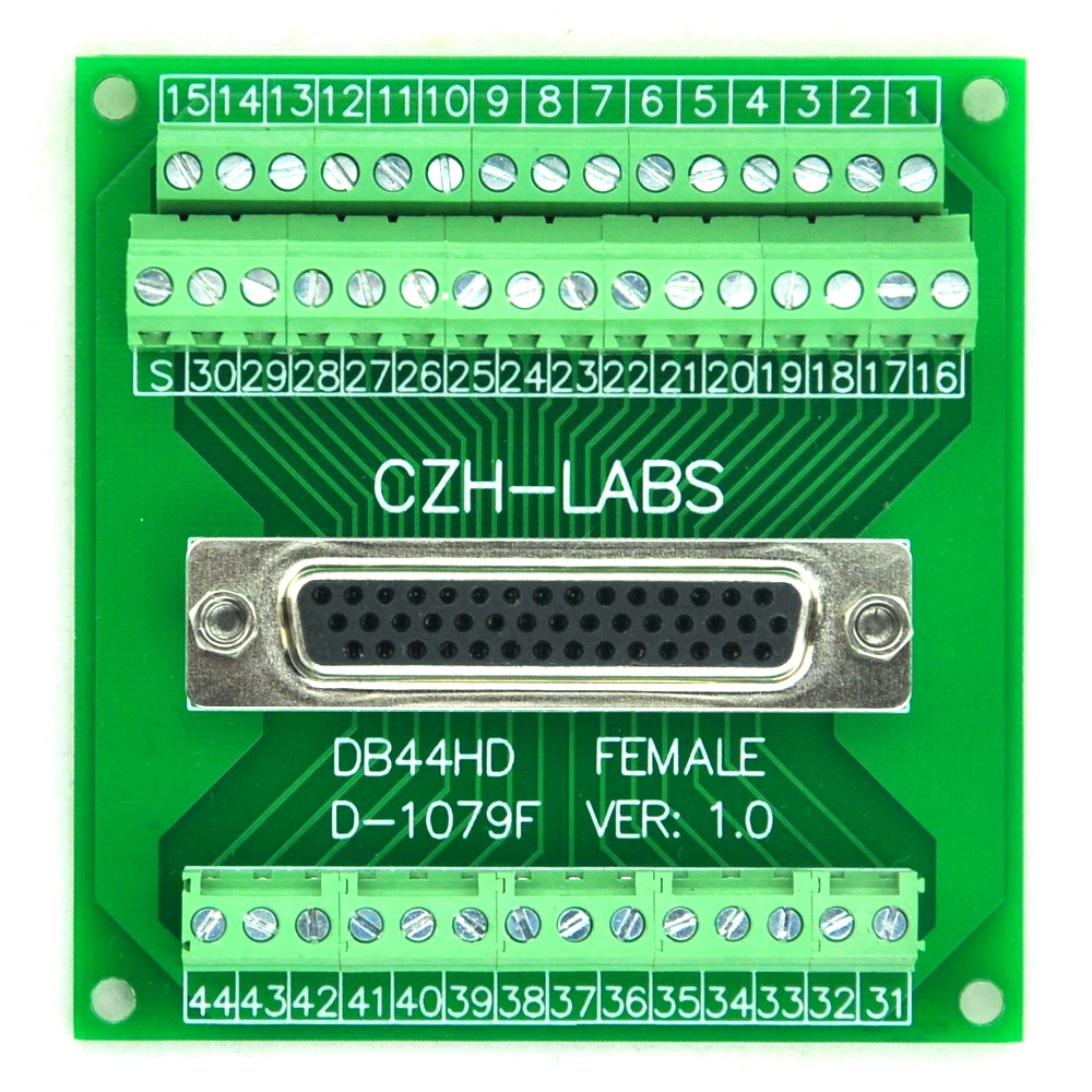 D-SUB DB44HD Female Header Breakout Board, Terminal Block, DSUB DB44 Connector. цена