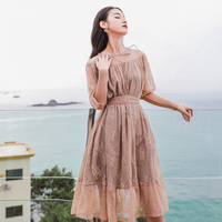 Vintage Nude Color Lace Dress Lantern Sleeve Elegant Party Dress Embroidery Flower Women Dress Plus Size Vestidos Verano 2019