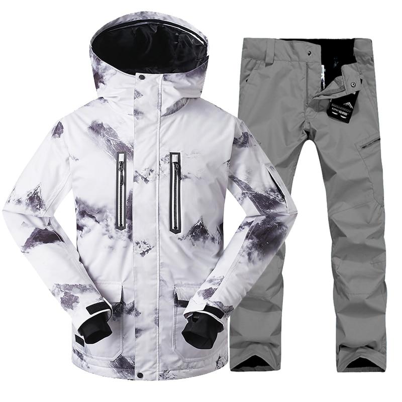 2018 Gsou Neige Hommes Ski Veste Hommes Ski Costume + Pantalon Snowboard Veste Hommes D'hiver Mâle Veste de Sport Costumes de Ski Ensemble Livraison gratuite