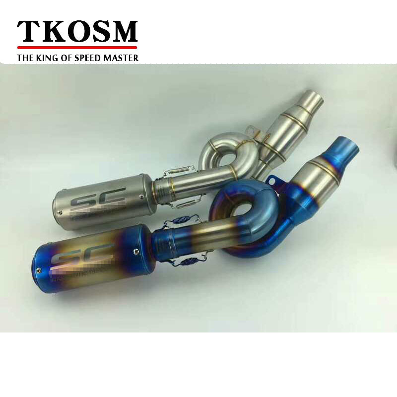 TKOSM Motorcycle Z800 Exhaust System Stainless Steel Motorbike Muffler and Middle Pipe Escape for Kawasaki Z800