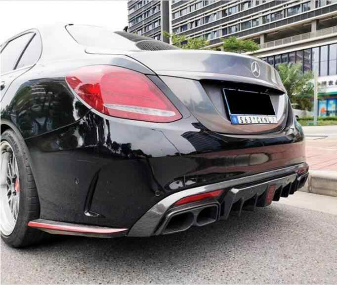 For W205 Rear Bumper diffuser with Led light with Exhaust