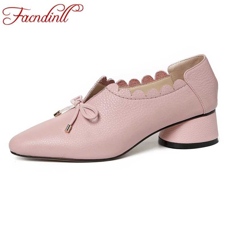 FACNDINLL women gneuine leather pumps shoes new fashion spring summer med heels pointed toe shoes woman dress party casual shoes shofoo newest women shoes med heels pointed toe pumps for woman dress