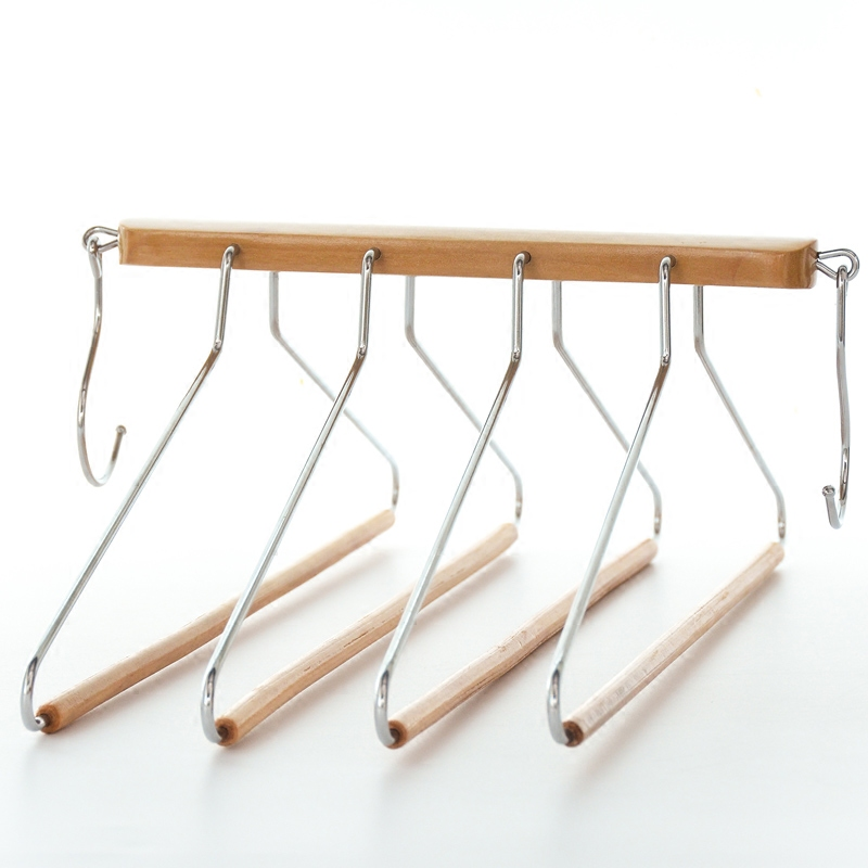 Creative fashion real wood adult hanger four layer multi-function storage foldable hanger colset orgainzer