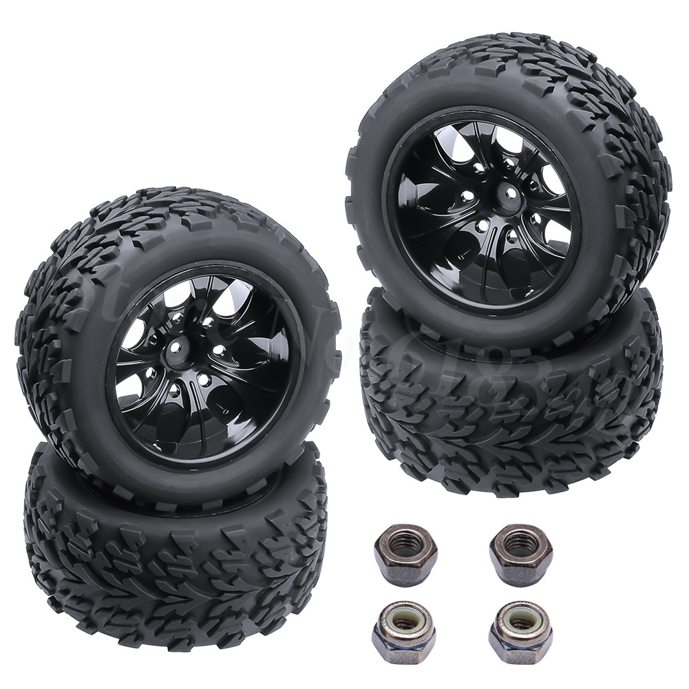 "4 հատ հատ 2.2 ""Rubber RC Off Road Tire & Wheel Rim Hex: 12mm for 1/10 Monster Truck Fit HSP Himoto Redcat Racing"