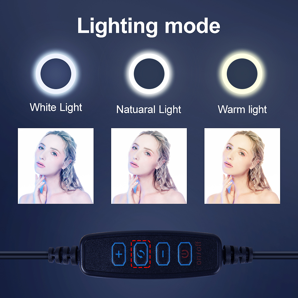 Video Light Dimmable LED Selfie Ring Light USB ring lamp Photography Light with Phone Holder 2M tripod stand for Makeup Youtube 3