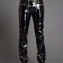 29-39 мужские кожаные брюки на молнии модные тонкие яркие лакированные кожаные брюки Dj певец Сценические костюмы мужские кожаные брюки