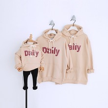 Family Clothing Matching Mother Daughter Father Son Hooded Hoodies Letter Loose T-shirt for Girl mae e filha Family Look Spring