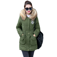 Winter New Womens Jacket Coat Thick Cotton Warm Fur collar with Waist rope Jacket Womens Outwear Parkas Plus Size Fur Coat