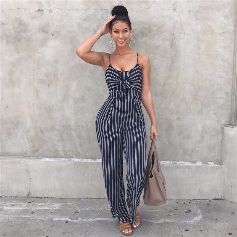 Fashion Women Striped Playsuits Sleeveless With Belt V-neck Jumpsuit Rompers Overalls Body Suit