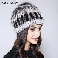 MOSNOW 100 Real Rex Rabbit Fur Hats Elegant Flower Brand New Mixed Color 2017 Fashion Wool