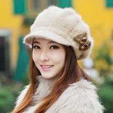 Winter hat female thermal ear rabbit fur beret cap knitted hat autumn and winter female outdoor fur warm beret new year gift