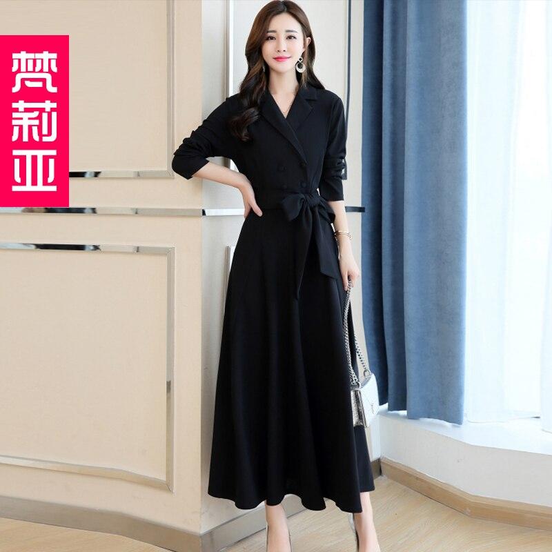 Spring and Autumn 2019 New Women's Dresses Korean Edition Long Sleeve Dresses Overlap Long Popular Temperament with Bottom 104