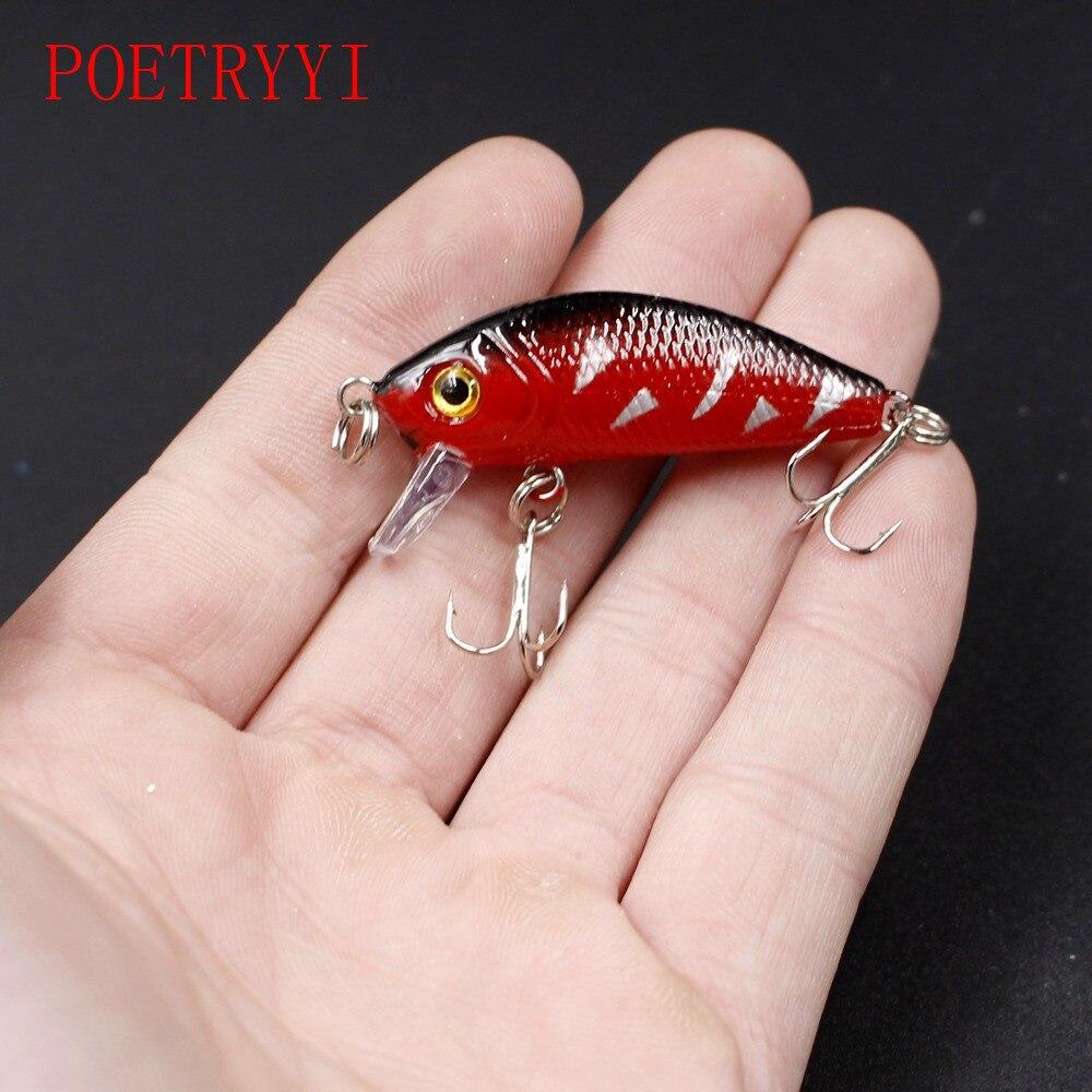 1Pcs 3D eye crank bait bass lure 5cm 3.8g 8 color swing fishing bait ...