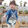 2017 cartoon cute bunny girls t-shirt long sleeve autumn and spring jeans girls denim blouse Children Girls School Blouse 2-7Y