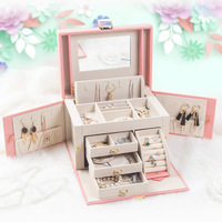 Jewelry Display PU Multi color Carrying Case and Glass Cover Jewelry Ring Display Box Tray Holder Storage Box Organizer