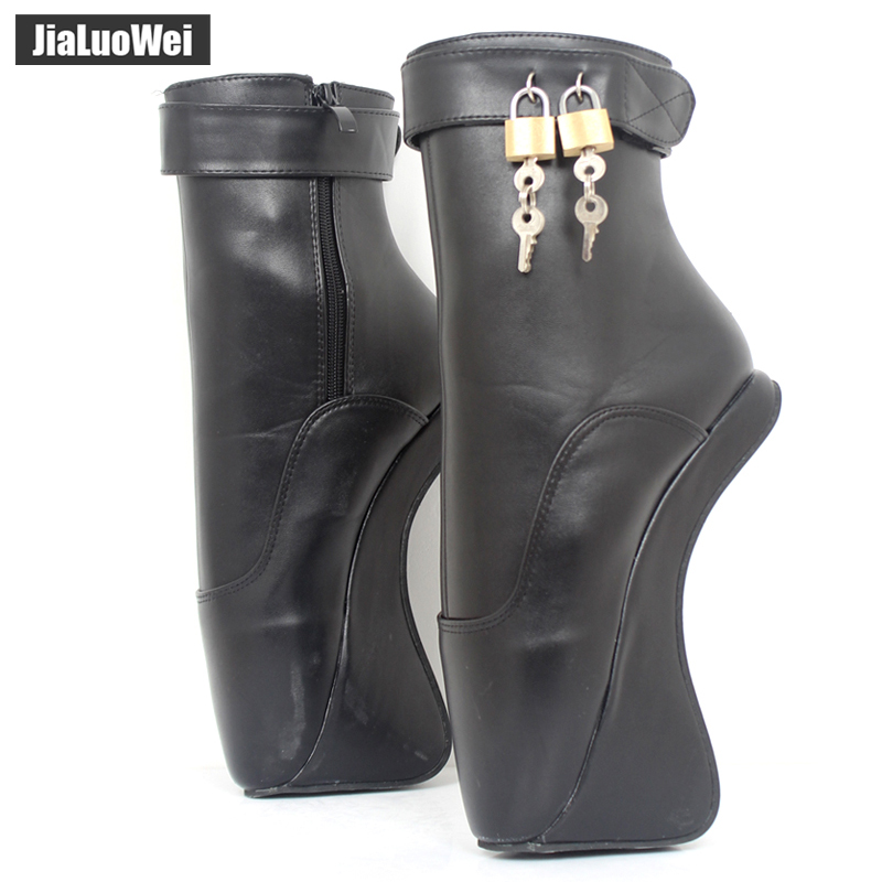 "Women Fashion Sexy fetish Exotic Extreme 18cm/7"" High Heel Buckle Stiletto strange Hoof Heelless padlocks Ankle Ballet boots"