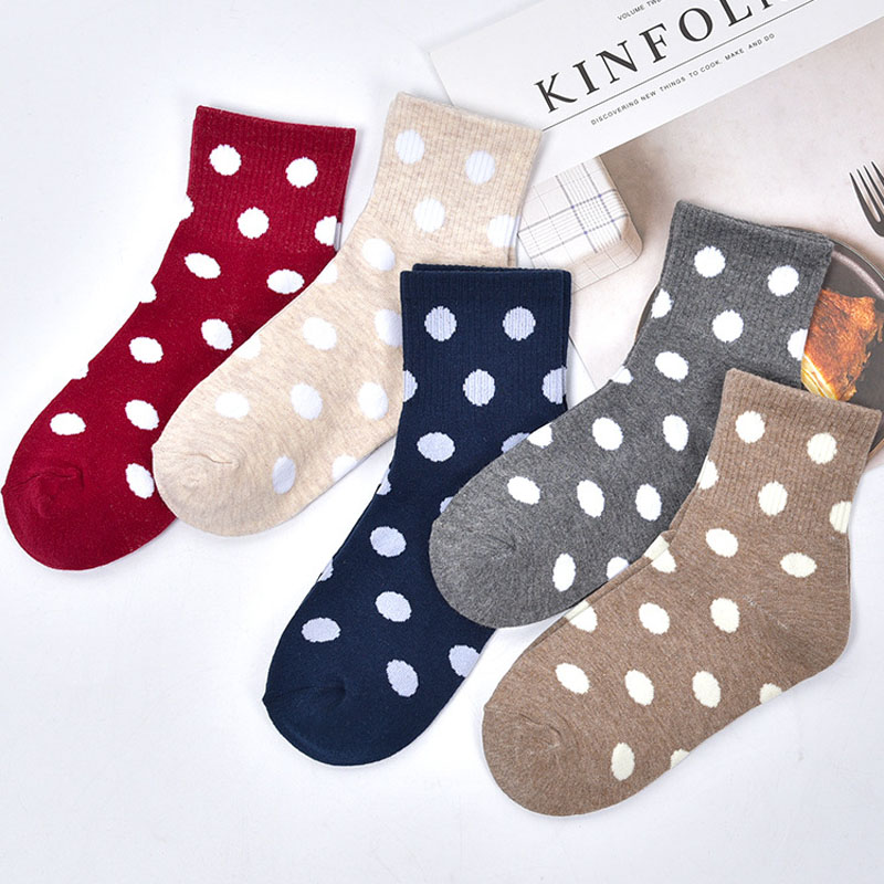 1 Pairs/New Women   Socks   Solid Pure Cotton Female Middle Tube Loose Retro Casual Style Polka Dot   Socks   Harajuku Sox Breathable