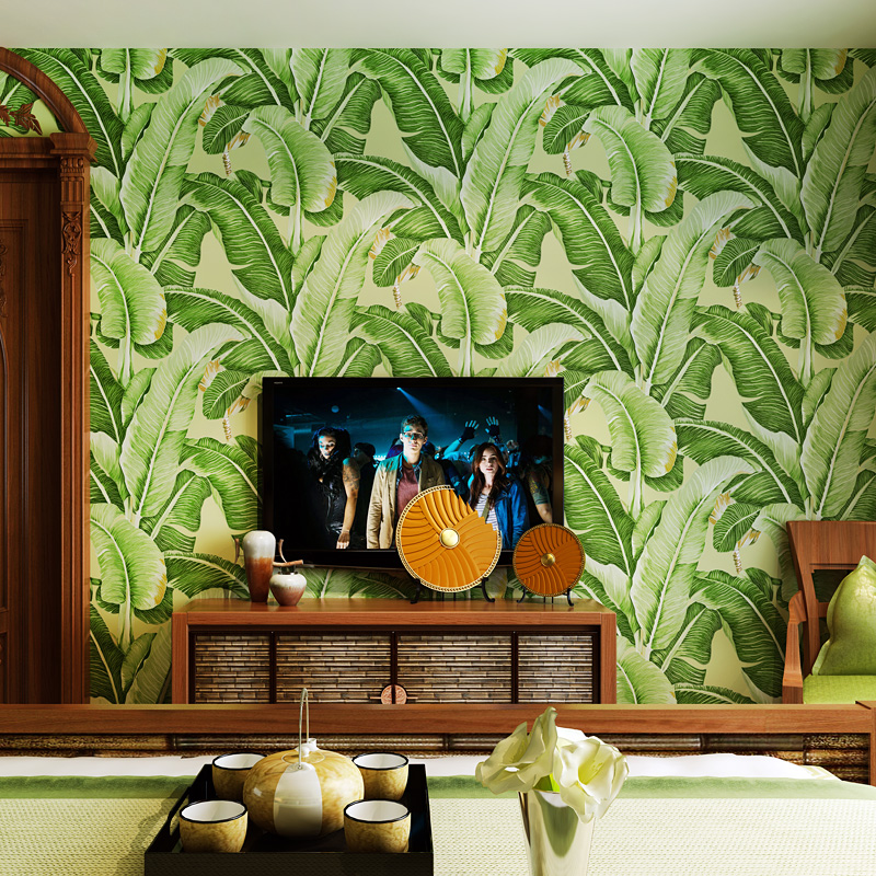 0.53x10 m Southeast Asian style banana leaf pattern wallpaper   bedroom living room entrance TV background non-woven wallpaper0.53x10 m Southeast Asian style banana leaf pattern wallpaper   bedroom living room entrance TV background non-woven wallpaper