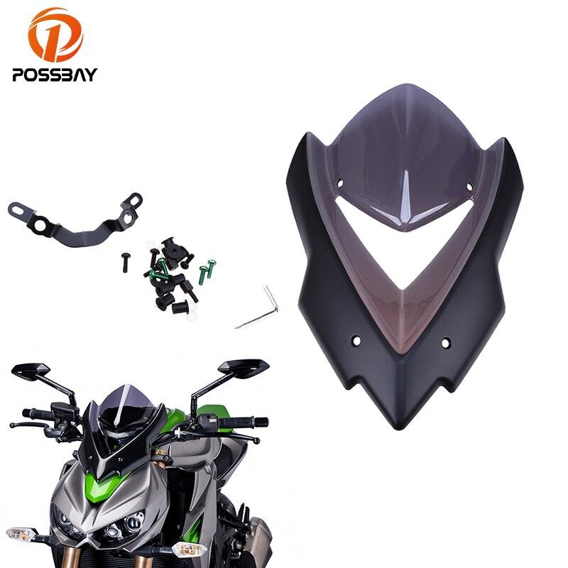 POSSBAY moto pare-brise pare-brise Double bulle Bicicleta pour Kawasaki Z1000 2015 2016 Scooter pare-brise pare-brise