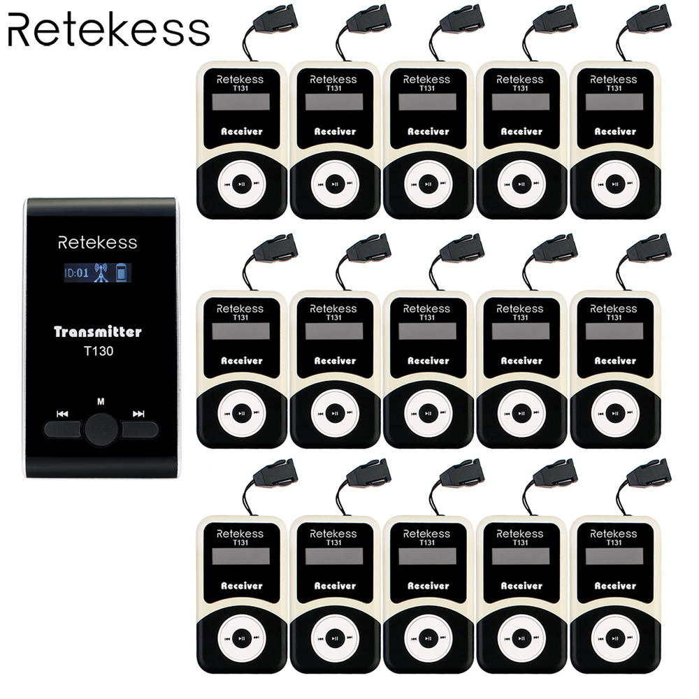 Retekess Wireless Tour Guide System 1 Transmitter+ 15 Receiver for Tour Guiding Simultaneous Translation Interpretation System недорго, оригинальная цена