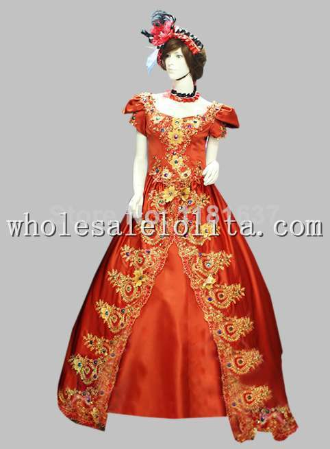 17 18th Century Marie Antoinette Era Court Poplin Red Long Trailing Dress Cosplay Dress