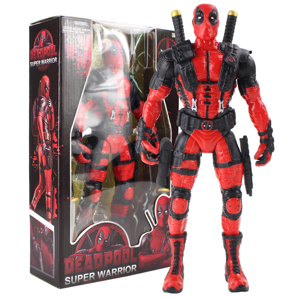 34cm New Hot Movie Deadpool Super Warrior Figure Toys With Sword Figurine PVC Super Hero Model Collectible Doll For Gift