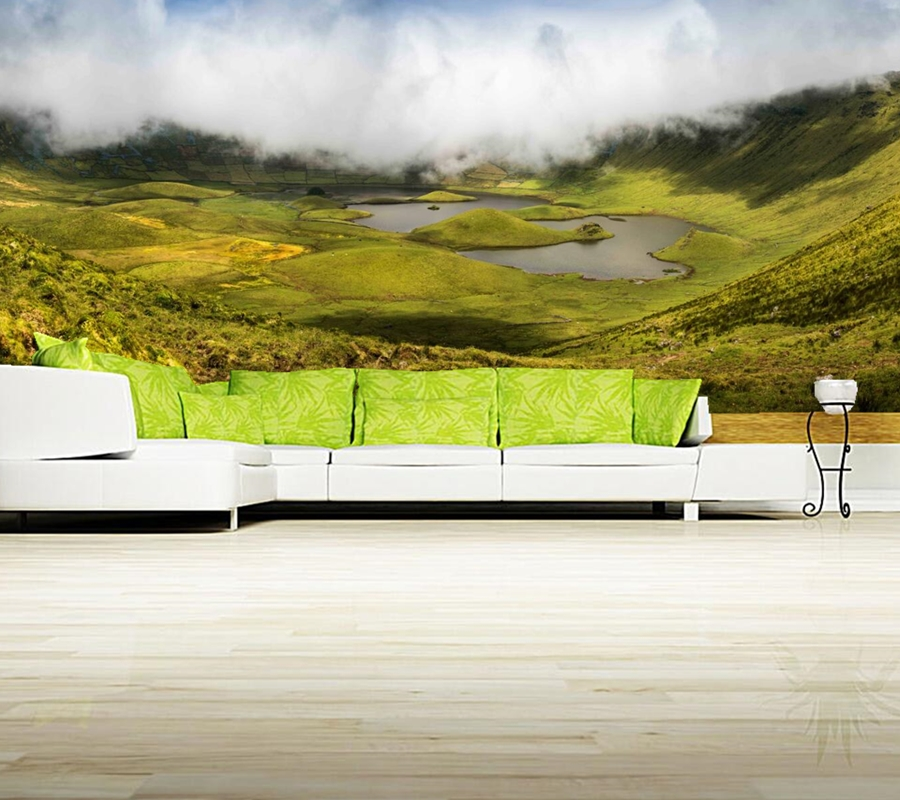 Papel de parede, Scenery Lake Island Fog Canyon Nature wallpapers,restaurant  living room tv wall bedroom custom 3d mural