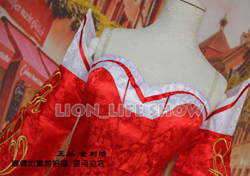 LOL The Nine-Tailed Fox Ahri Classical Skin Embroidery Red Dress Cosplay Cos