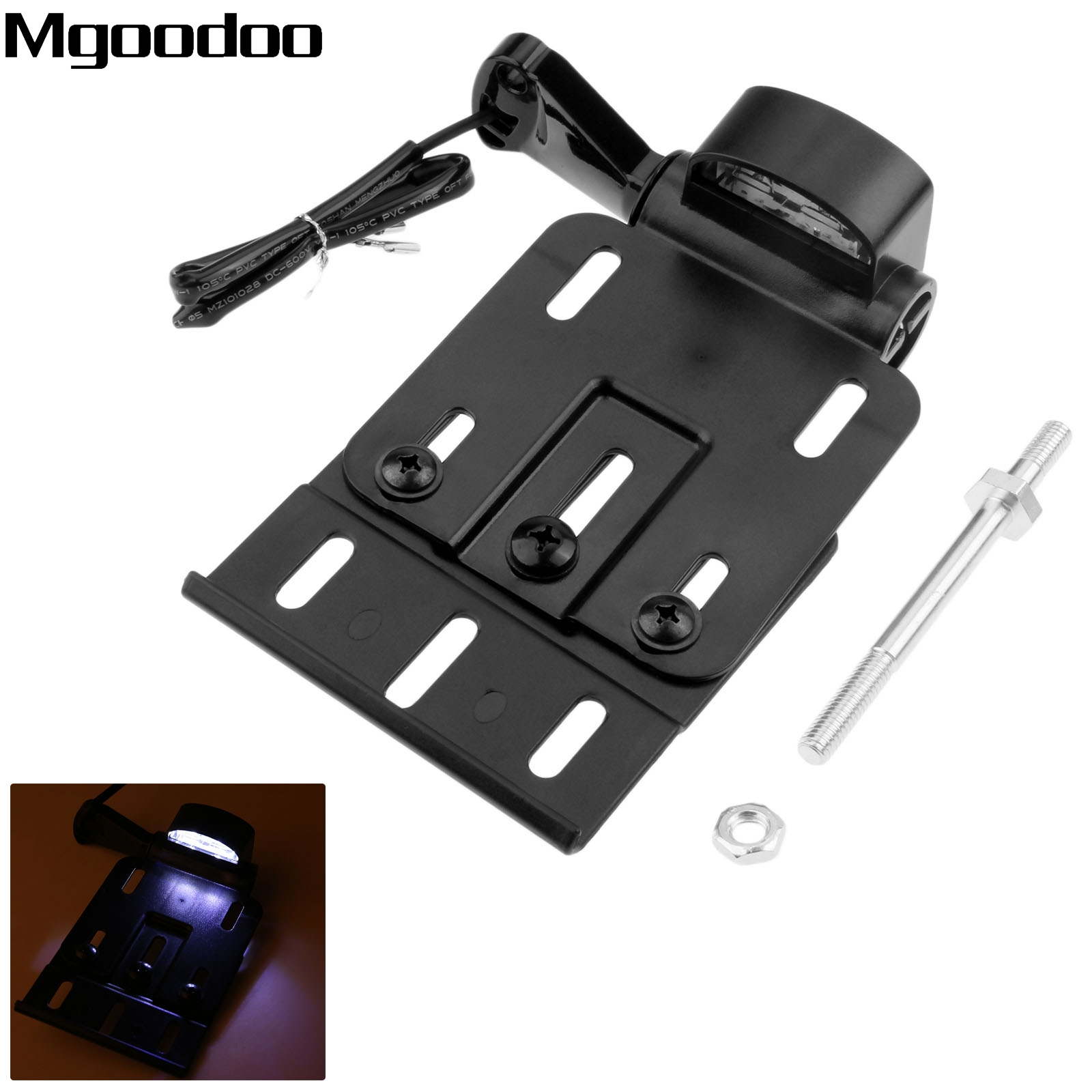 Mgoodoo Motorcycle Folding Side Mount LED Light License Plate Frame Cover Holder Bracket For Harley Sportster 883 1200 2004-2016 mens watches women watch hot sale delicate casual noble men motion form stainless steel sport quartz hour wrist analog watch 4
