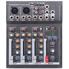 Eu Plug Mini Portable Audio Mixer With Usb Dj Sound Mixing Console Mp3 Jack 4 Channel Karaoke 48V Amplifier For Karaoke Ktv Ma f4 usb mini audio mixer console with usb built in effect processor audio mixer 4 channel mixer sound console 48v power supply