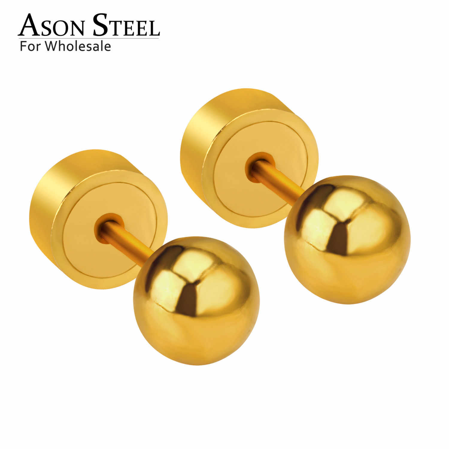 Asonsteel Stainless Steel Emas/Perak Warna Ball Press Stud Anting-Anting Stainless untuk Bayi/Anak 3 Mm/4 MM/5 Mm Bulat Anting-Anting 2020