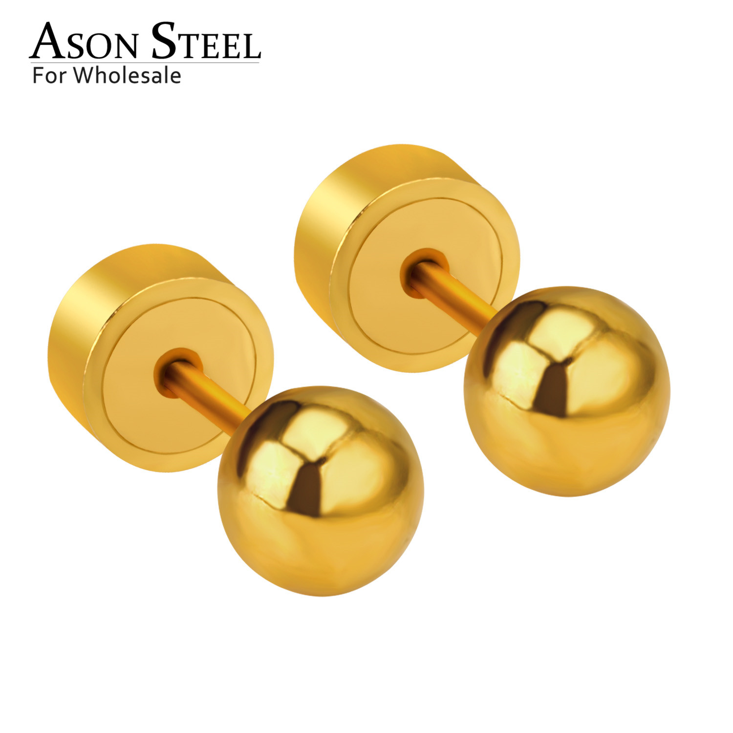 ASONSTEEL Stainless Steel Gold/Silver Color Ball Press Stud Earrings Stainless for Baby/Kid 3mm/4mm/5mm Round Earring 2020(China)